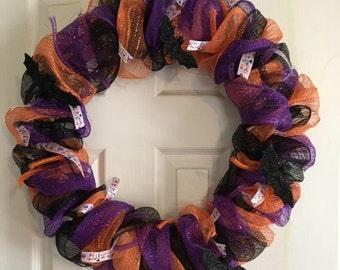 Halloween Wreath - Bat Wreath - Black Purple Orange Wreath