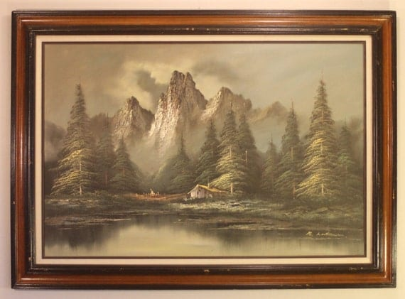 style de peinture bob ross montagne scerene paysage peinture. Black Bedroom Furniture Sets. Home Design Ideas