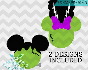 Mickey Minnie Frankenstein - SVG, Disney, Digital file, Silhouette Studio, DXF, PNG, Cricut Cutting, Vinyl, Web, Halloween, Mouse, Micky