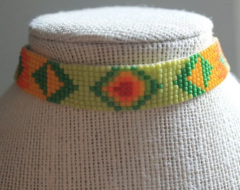 Green Dhaka Choker- Multi colored choker necklace with lime green, yellow, red, and orange beads