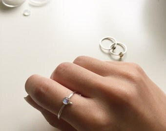Chisa - moonstone with silver pebble ring -