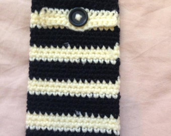 Crocheted Yellow and Black Stripey Mobile Phone Case