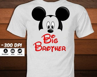 Big Brother Mickey Mouse Shirt-Mickey Mouse Iron on Transfer T-Shirt-Disney Mickey mouse party decoration t-shirt-INSTANT DIGITAL DOWNLOAD