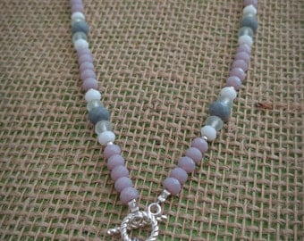 Handmade beaded chain necklace, purple crystal beads, christmas gifts for her