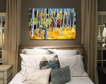 PRINT Fall Aspens birch yellow contemporary acrylic canvas painting wall art home office interior decor by Shweta Patil Free shipping USA