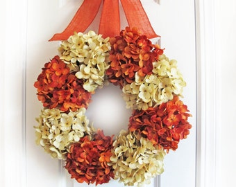 Pumpkin Wreath Hydrangea, Fall Wreath For Front Door, Orange Hydrangeas, Autumn Pumpkin Decor