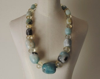 Andean Opal Necklace with faceted Citrine, 925% Silver Clasp