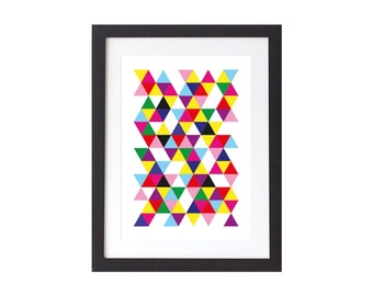 Neon Triangles Print - Geometric Poster - Scandinavian Wall Art - Home decor