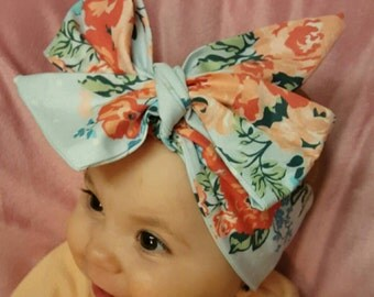 Flower print big bow head band head wrap  baby turban baby infant toddler girl adjustable