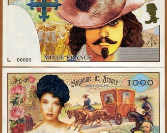 Kingdom of France, 1000 Francs, 2016, Private Issue banknote, UNC > Three Musketeers, Alexandre Dumas, d'Artagnan, Cardinal Richelieu