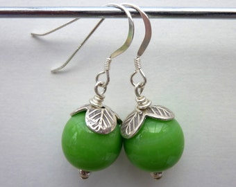 Bright green earrings, green glass earrings, boho earrings, dangle earrings, Thai silver