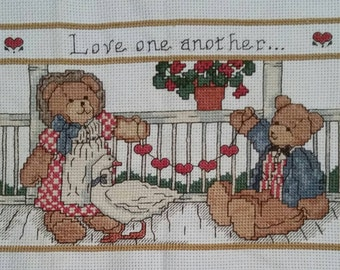 """Finished Cross Stitch """"Love One Another"""""""