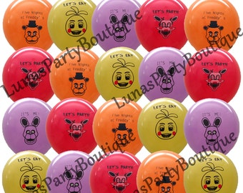 """Five Nights at Freddys Balloons ~ 20 Count ~ LARGE 12"""" Latex ~ Great Kids Themed Birthday Party Decorations, Supplies ~ FNAF Freddy's Game"""