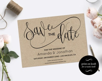 Save the Date Template - Save the Date Printable - Kraft save the date - Rustic save the date - Downloadable wedding #WDH0104