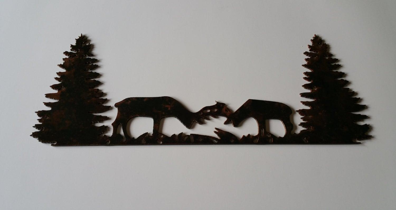 elk fighting metal art scene elk metal art wildlife metal art elk fighting wildlife wall decor cabin wall decor wildlife art: tree scene metal wall art