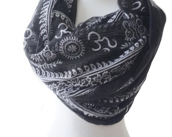 Boho scarf AUM OHM OM print Prayer shawl Black Yoga Scarf Hippie with ohm symbol Long Wrap Scarf ohm charm Meditation Accessory For Her
