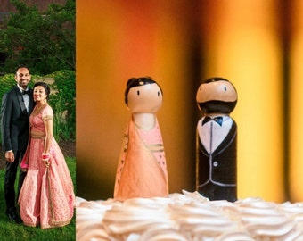 Wedding Cake Toppers, Wooden Dolls, Desi, Indian, Pakistani, Western