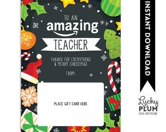 Amazon Gift Card Holder / Teacher Thank You Card / Christmas Gift Card Holder / Teacher Appreciation A Gift / *Digital Download