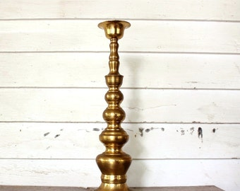 "17.5"" tall brass candle holder by Homco, made in Japan . vintage brass home decor, taper candleholder"