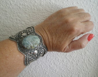 Bold and Beautiful Silver and Turquoise Cuff Bracelet Antique Fashion Statement Gift