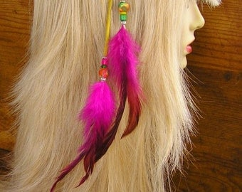 """14"""" Feather Hair Extension - Beaded Yellow Leather with hot pink and fuchsia feathers and trade beads, your choice of hair clip or earcuff"""