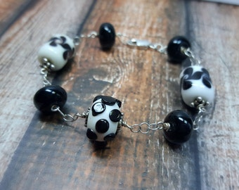 Sterling Silver and Art Glass Bracelet,  Black and White Dot, Dotted, Swirls, Gifts for Her, Curls and Dots, Artistic, Unique, Classic