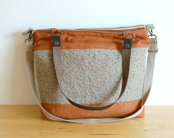 Terracotta linen wool tote bag, hand embroidered, with leather straps