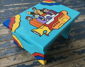 Yellow Submarine BEATLES Step Stool Hand Painted Wood Bathroom Decor Gift Collection Kids Pop Art