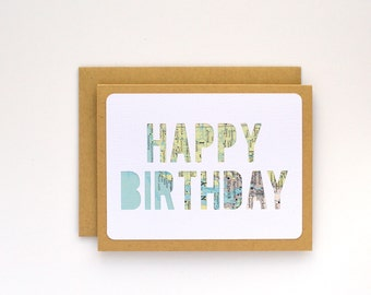 Happy Birthday Card, Minimalist Birthday Card for Boyfriend, Long Distance Relationship, Traveler Gifts for Women