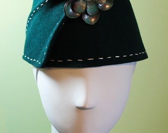 Dark Green Wool Women's Sculpted Fez / Cloche Hat - Medium Large - OOAK