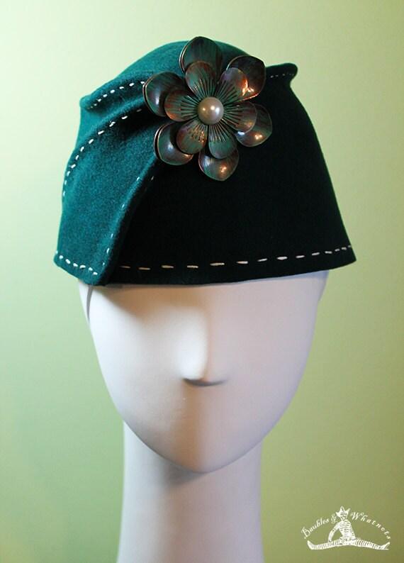 Dark Green Wool Women's Sculpted Fez / Cloche Hat - Medium Large - OOAK