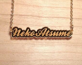 Neko Atsume Script Gold Mirror Acrylic Necklace
