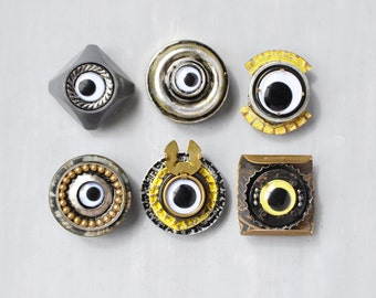 6 Robot Eyes Magnets - recycled industrial junk bottle caps buttons - strong refrigerator magnet set
