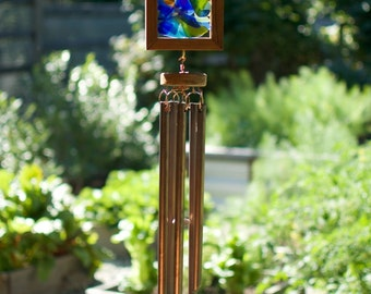 Stained Sea Glass Copper Cedar Wind Chime, Kaleidoscope Windchimes