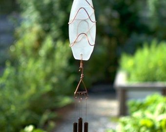Wind Chimes Frosty White Sea Glass with Brass Chimes, beach glass, stained glass, windchime