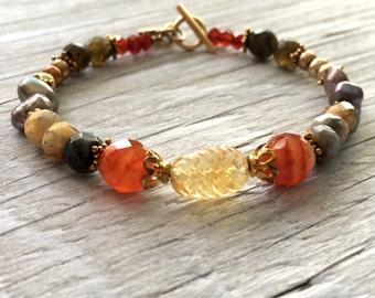 Beaded gemstone bracelet - citrine, agate, freshwater pearl, bali vermeil