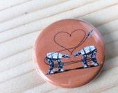 Button: Single Orange AT-AT Love, Star Wars Parody Button, Star Wars Valentine, Valentines Day, At-At Walker, Star Wars Love