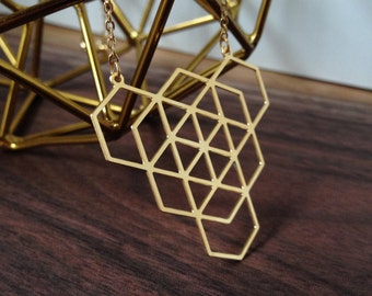 Geo Hex 2, Necklace in Gold