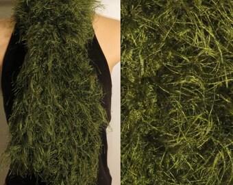 SALE Hand Knit Eyelash Boa Scarf Green