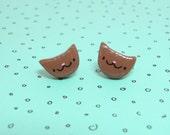 Brown Tabby Cat Clay Stud Earrings