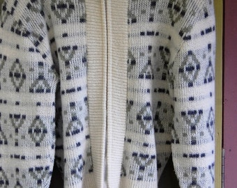 Vintage Beige & Gray Tribal Zip Front Cardigan Sweater Size Small
