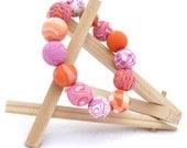 Polymer Clay Jewelry - Beaded Stretch Bracelet - Elastic Beaded Bracelet - Handmade Jewelry - pink orange white