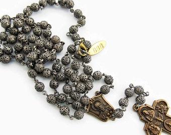 Mens Rosary Necklace  Silver Beaded Rosary Necklace  Mens Cross Necklace  Catholic Rosary for Men