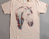Horse t shirt, multicolor print, mens tee, OOAK t-shirt, creme t-shirt, horse t-shirt, 1AEON multicolor Crying Horse tee -  Size mens M