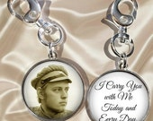 Custom Wedding Bouquet Charm - Double Sided with Photo and Saying - I Carry You with Me Today and Every Day - Optional Crystal