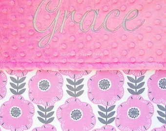 Personalized Baby Girl Blanket , Gray and Pink Embroidered Blanket , Monogrammed Blanket for Baby Girls - Libby - 30x36