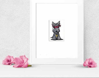 Scottie Dog Art Original Illustration ACEO Terrier Matted 8x10