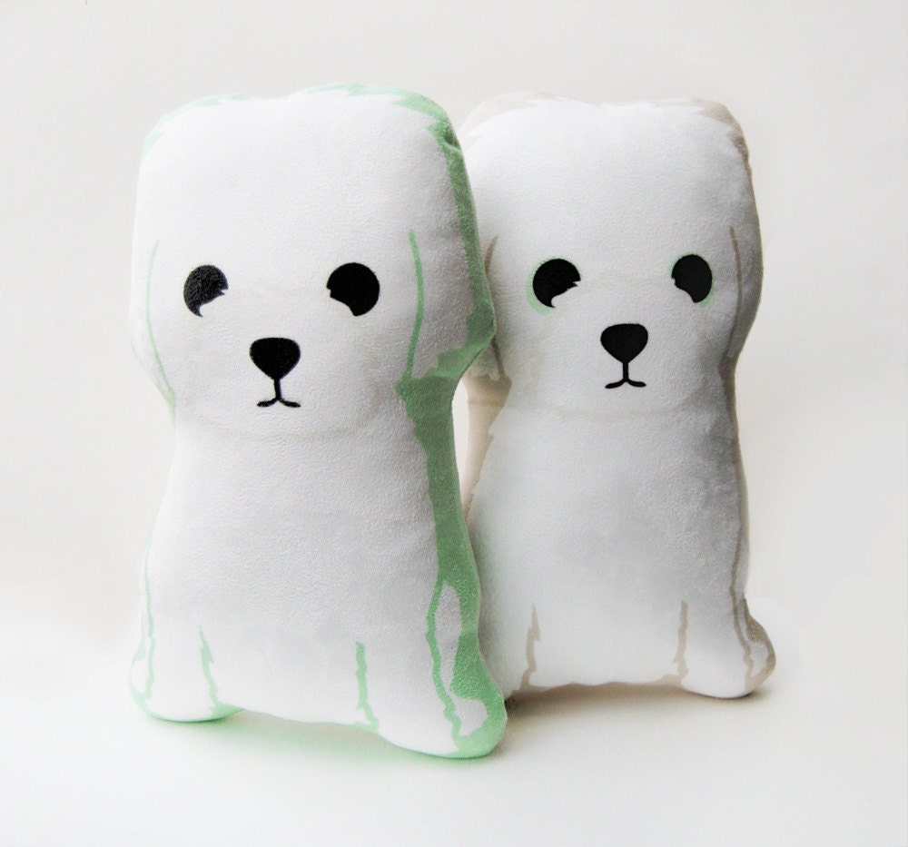 Stuffed Animal Dog Pillow : Little White Dog Plush Pillow