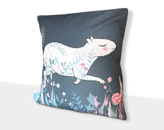 Capybara cushion cover - throw pillow cover - guinea pig illustrated homewares nursery decor blue indigo illustration