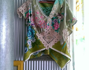 Peacock & Roses Top, Silk, Linen, Vintage Lace, Floral, Green, Blue, Pink, Purple, Chinoiserie, Rustic, Chic, Pretty, Boho